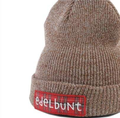 Bestickte Beanie - hellbraun
