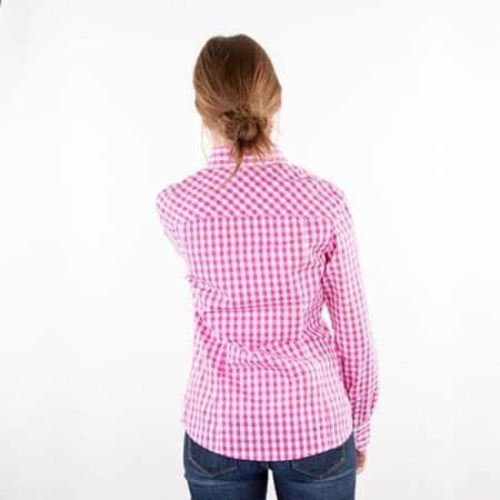 JAMES & NICHOLSON Damen Karo Bluse Model back
