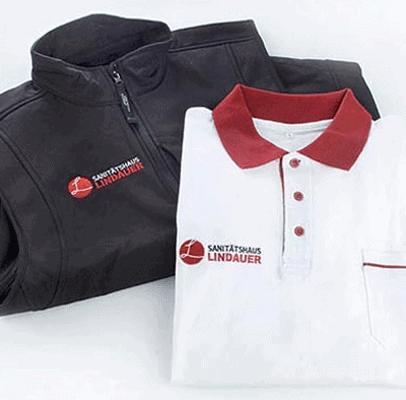 Stickkombi Poloshirts/Weste - schwarz und weiß/rot