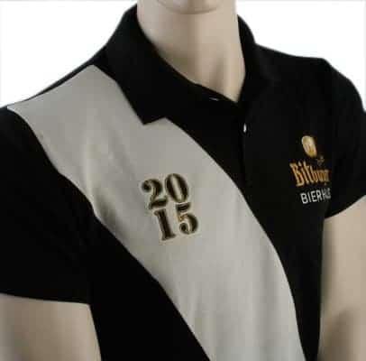 Besticktes Poloshirt - schwarz/beige