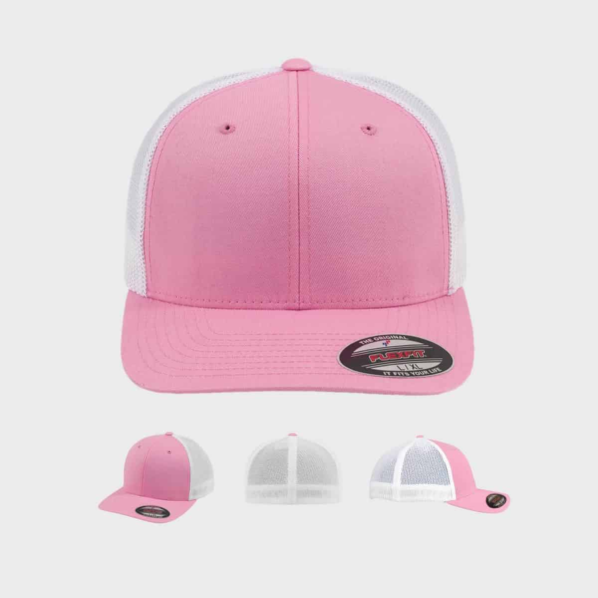 Flexfit TruckerCaps FFE 6511T Pink White Front Extra